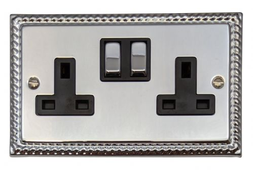 G&H MC310 Monarch Roped Polished Chrome 2 Gang Double 13A Switched Plug Socket